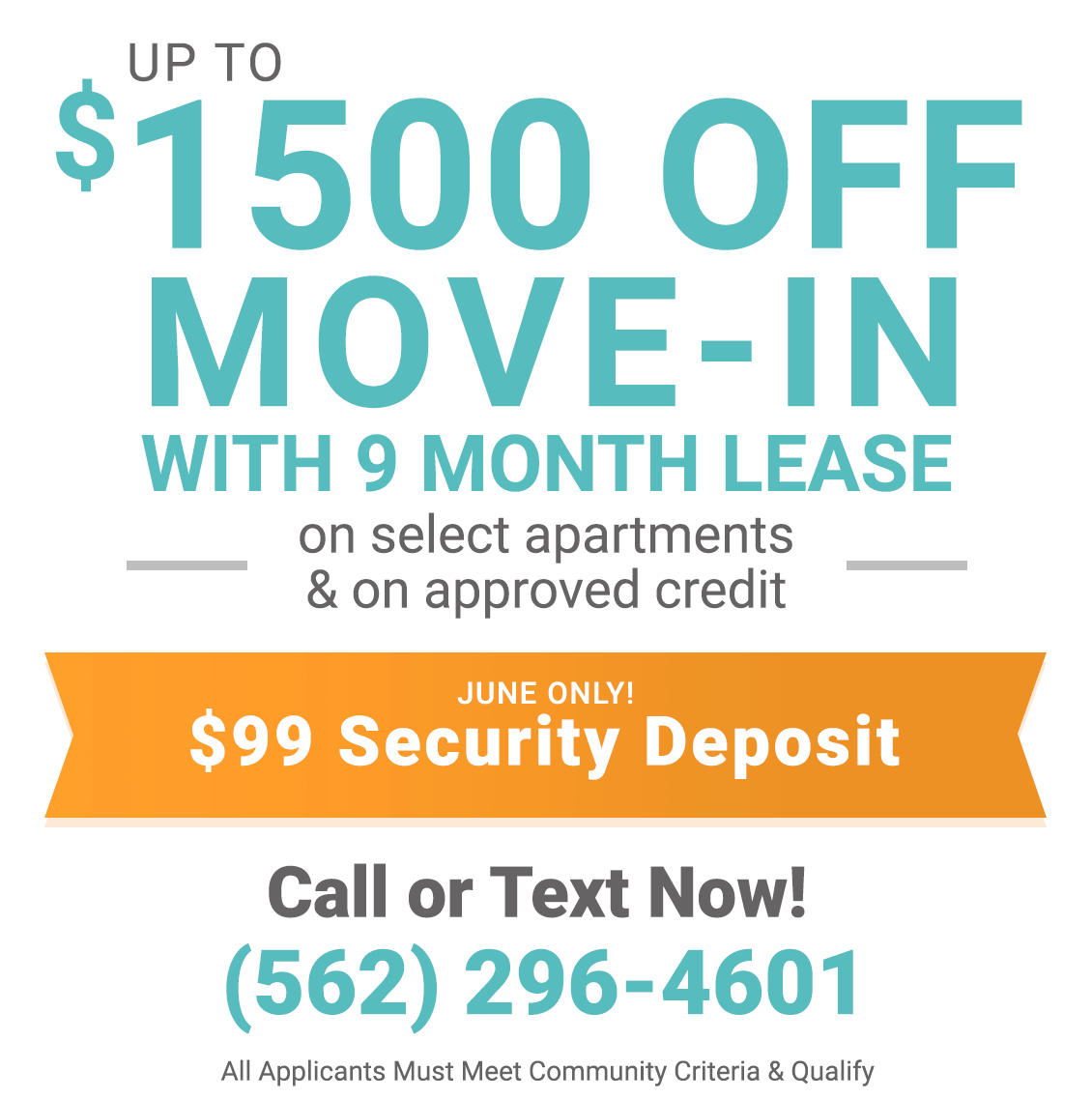 Up to $1,500 off move-in with 9 month lease